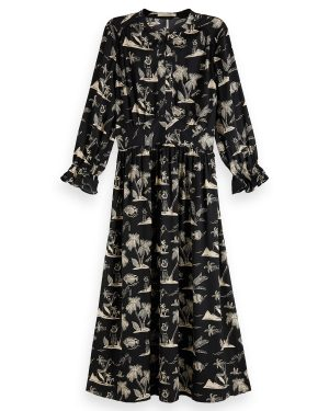 Scotch-and-Soda-Printed-satin-Midi-Dress
